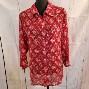 Liz Claiborne Woman Paisley Print Bell Sleeve Top